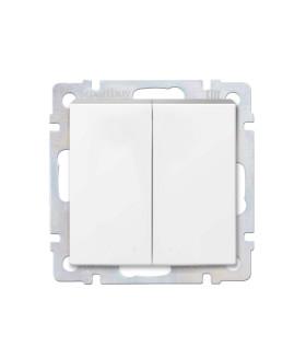 """Выключатель проходной 2-клавишный 10А белый """"Нептун"""" (SBE-05w-10-SW22-0)"""