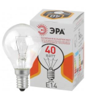 Лампа накаливания ЭРА ДШ (P45) шар 40Вт 230В Е14 цветная упаковка ДШ 40-230-E14-CL