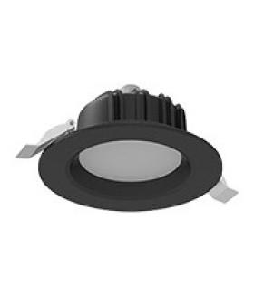 """Cветильник светодиодный """"ВАРТОН"""" Downlight круглый встраиваемый 120*65 мм 11W Tunable White (2700-6500K) IP54/20 RAL9005 черный муар диммируемый по протоколу DALI"""